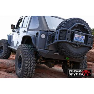 Rear Bumper BFH II with D-Ring Tabs and light holes Steel POISON SPYDER  - Jeep Wrangler JK